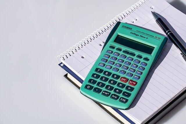 緑の計算機とノート